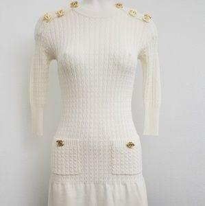 Chanel white cashmere blend dress.